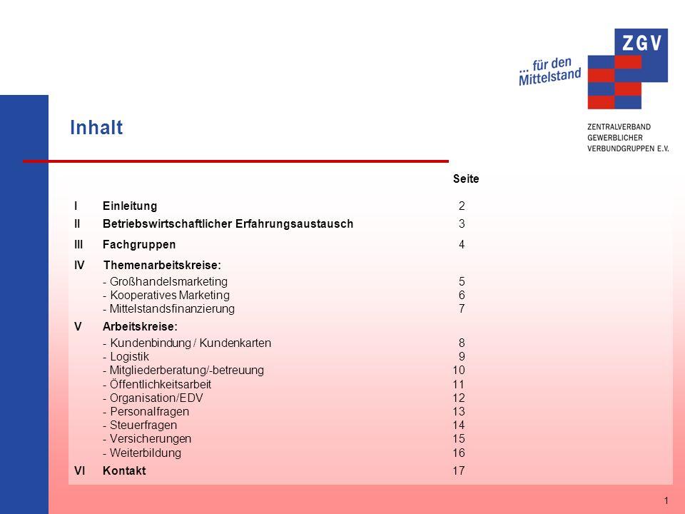 Inhalt Seite IEinleitung 2 IIBetriebswirtschaftlicher Erfahrungsaustausch 3 IIIFachgruppen 4 IVThemenarbeitskreise: - Großhandelsmarketing 5 - Koopera
