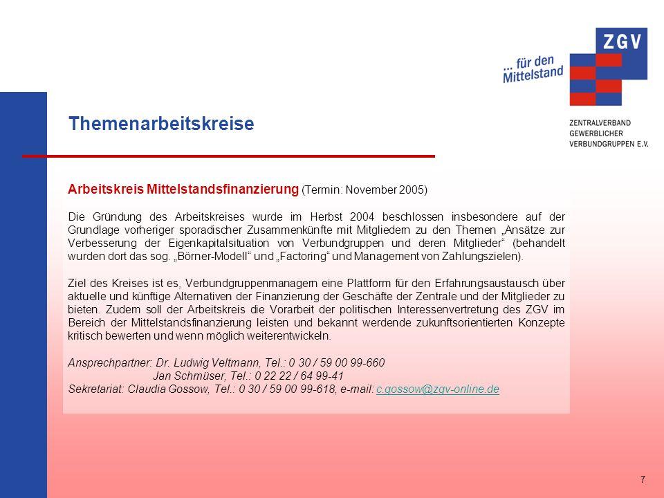 Themenarbeitskreise Arbeitskreis Mittelstandsfinanzierung (Termin: November 2005) Die Gründung des Arbeitskreises wurde im Herbst 2004 beschlossen ins