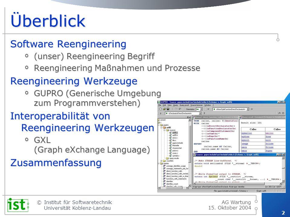 © 3 Institut für Softwaretechnik Universität Koblenz-Landau 15.