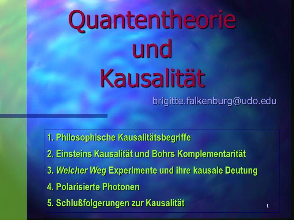 2 Quantentheorie und Kausalität 1. Philosophische Kausalitätsbegriffe Kausalitätsbegriffe