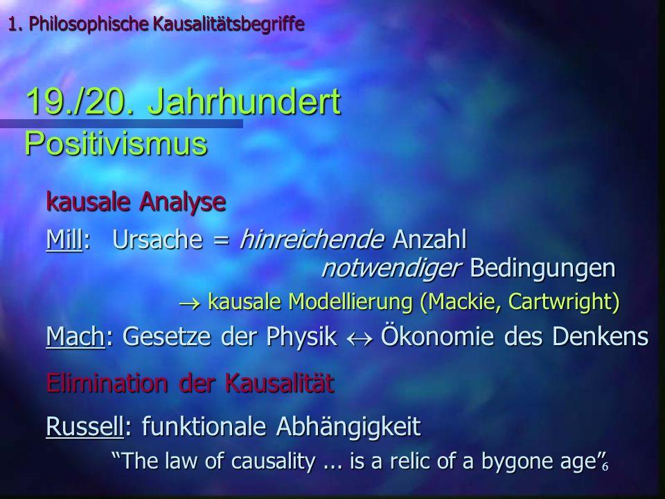 27 2 Kausalitäts-Begriffe: 2 Kausalitäts-Begriffe: (1) probabilistische Kausalität der QT –deterministische, unitäre Entwicklung von –deterministische, unitäre Entwicklung von –probabilistische Deutung von 2 (2) Einstein-Kausalität der Signalübertragung –keine Verletzungen der Einstein-Kausalität in QT –keine Rückwärts-Kausalität nötig zur Erklärung der Quanten-Radierer mit verzögerter Wahl (3) Interventions-Kausalität des Experimentators –Wahl des Versuchsaufbaus –Präparation & Messung bestimmter Quantenzustände –Präparation & Messung bestimmter Quantenzustände 3.