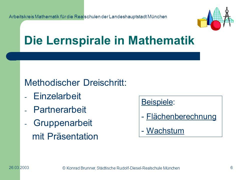 6 Arbeitskreis Mathematik für die Realschulen der Landeshauptstadt München 26.03.2003 © Konrad Brunner, Städtische Rudolf-Diesel-Realschule München Di