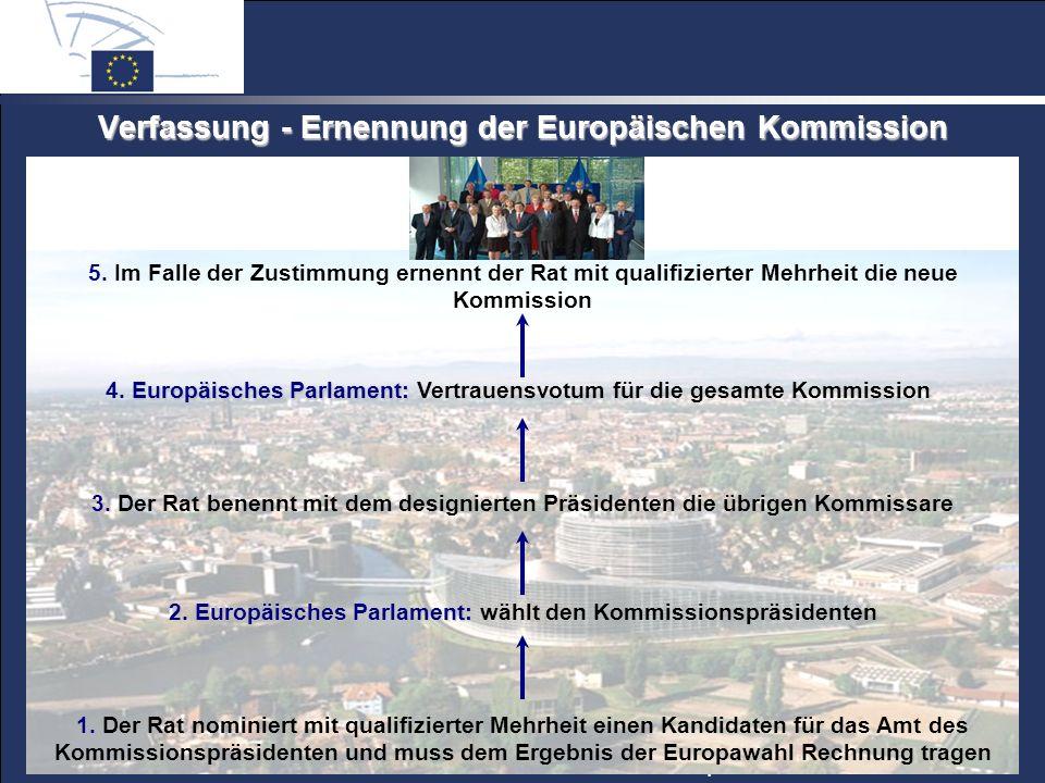 © 2005 Europäisches Parlament – Informationsbüro München Verfassung - Ernennung der Europäischen Kommission 5.