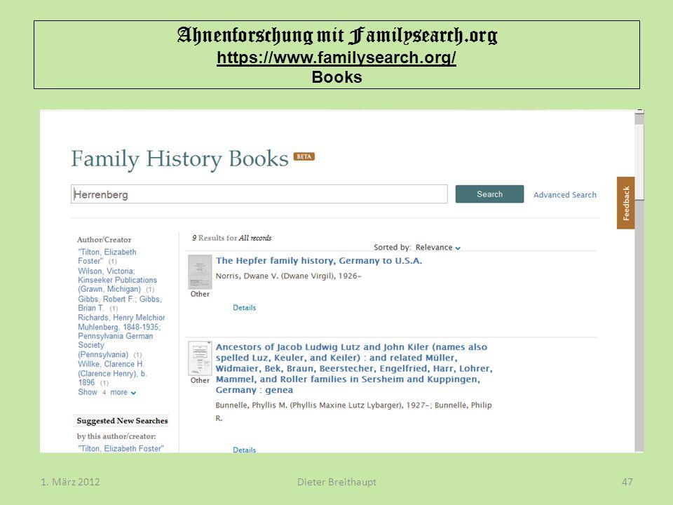 Ahnenforschung mit Familysearch.org https://www.familysearch.org/ Books Dieter Breithaupt1. März 201247