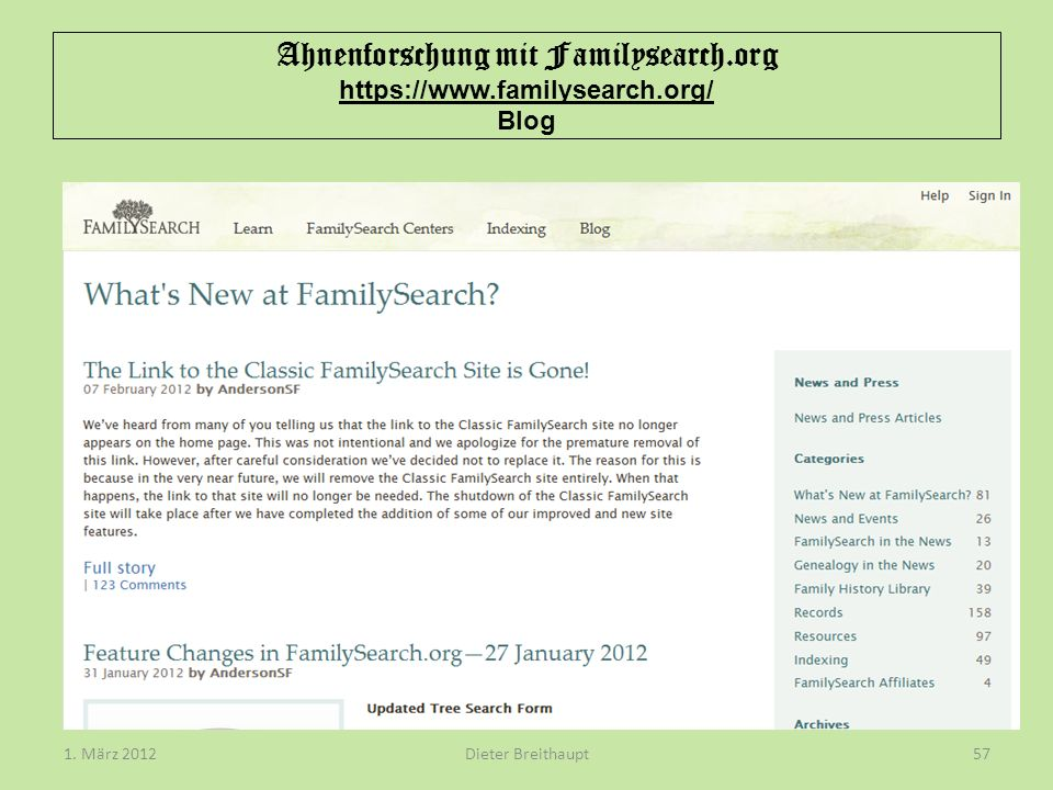 Ahnenforschung mit Familysearch.org https://www.familysearch.org/ Blog Dieter Breithaupt1.