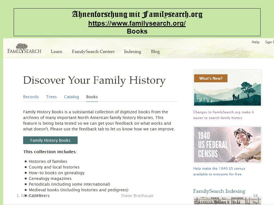Ahnenforschung mit Familysearch.org https://www.familysearch.org/ Books Dieter Breithaupt1. März 201258