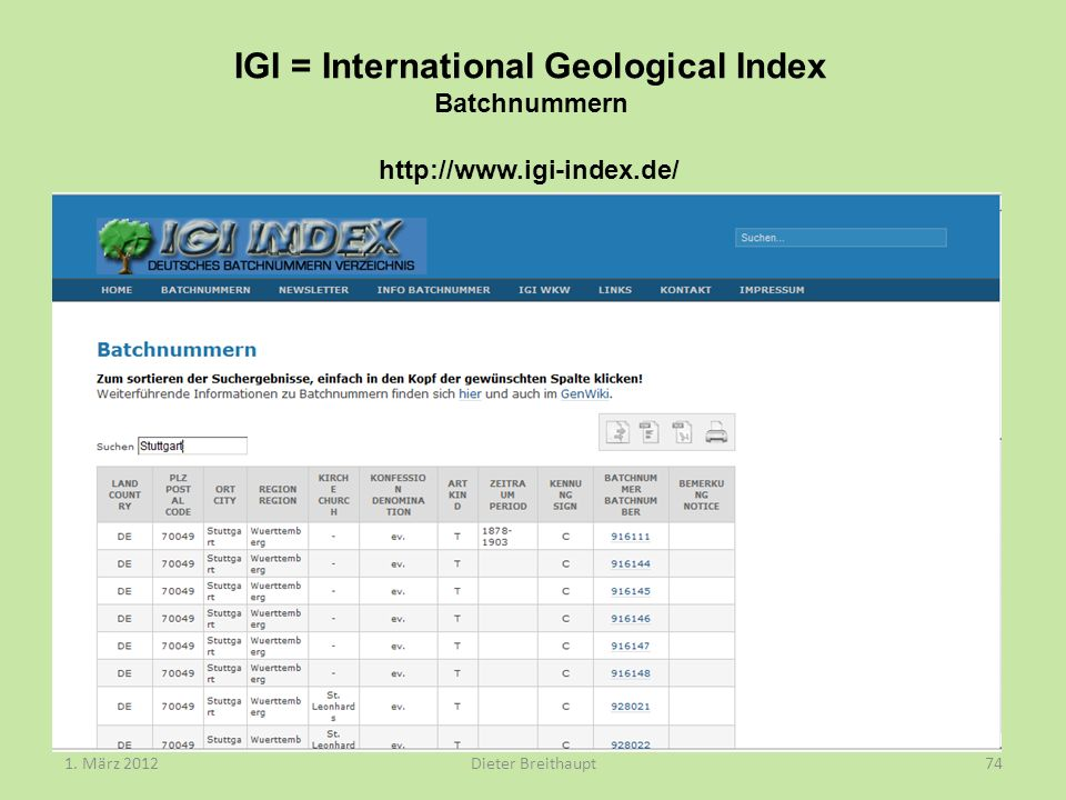 IGI = International Geological Index Batchnummern 1.
