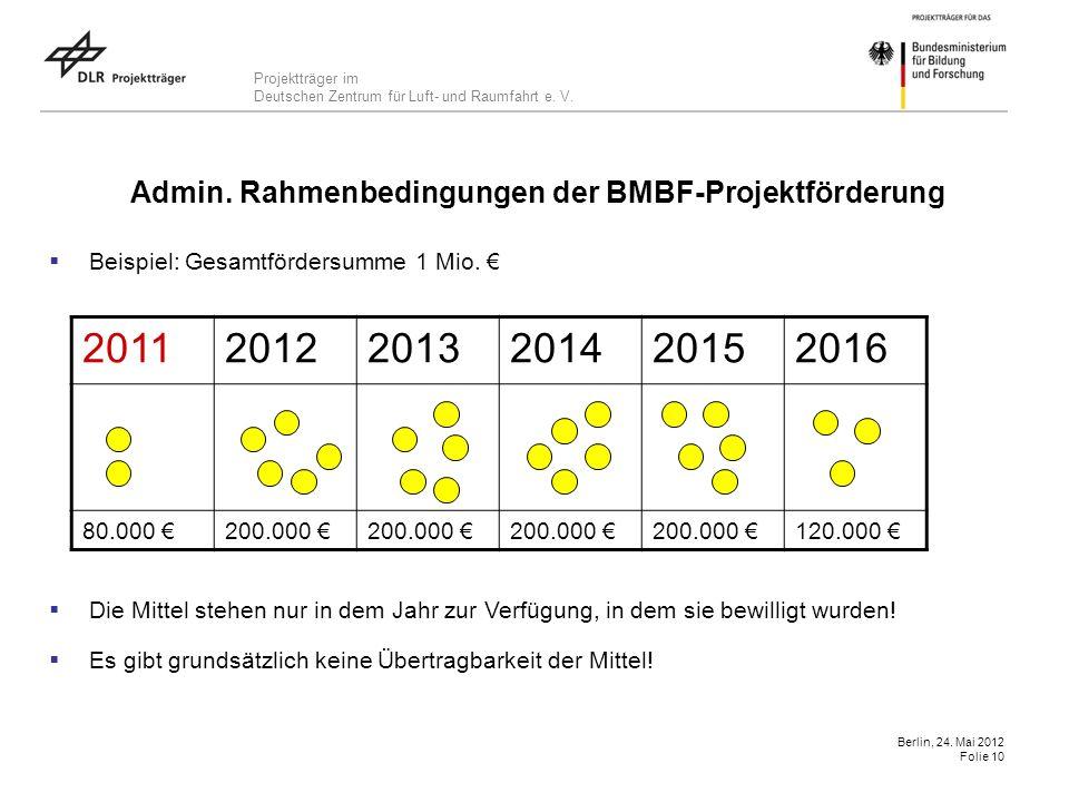 Projektträger im Deutschen Zentrum für Luft- und Raumfahrt e. V. Berlin, 24. Mai 2012 Folie 10 Beispiel: Gesamtfördersumme 1 Mio. Die Mittel stehen nu
