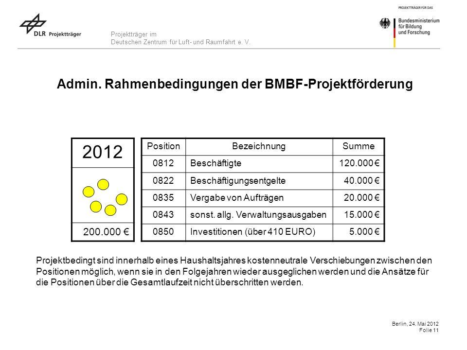 Projektträger im Deutschen Zentrum für Luft- und Raumfahrt e. V. Berlin, 24. Mai 2012 Folie 11 Admin. Rahmenbedingungen der BMBF-Projektförderung 2012