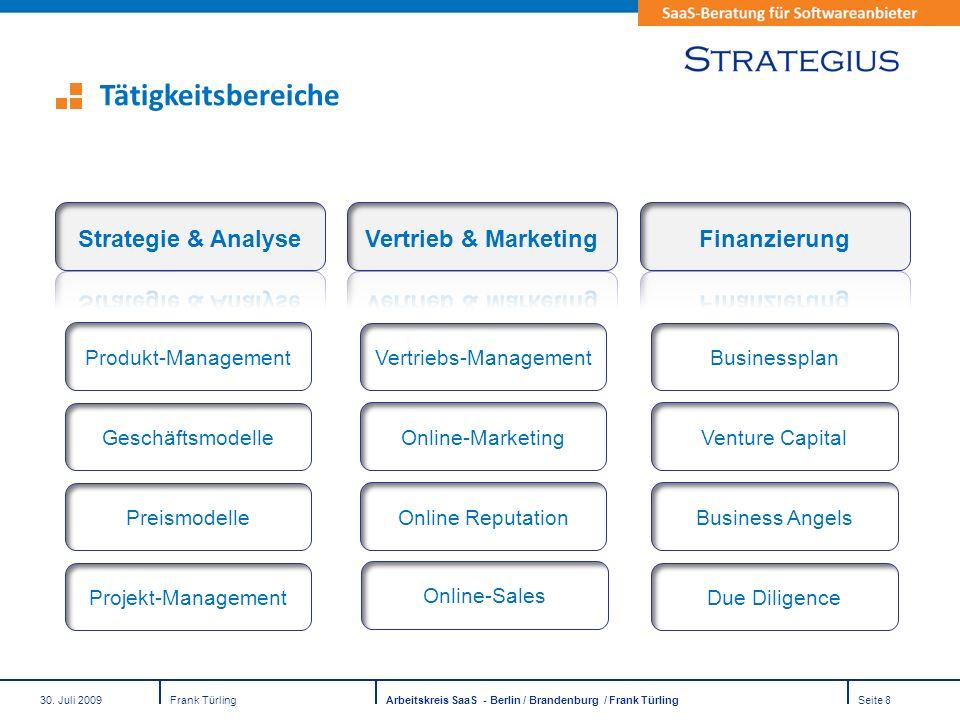 30. Juli 2009Frank TürlingArbeitskreis SaaS - Berlin / Brandenburg / Frank TürlingSeite 8 Businessplan Venture Capital Business Angels Due Diligence V