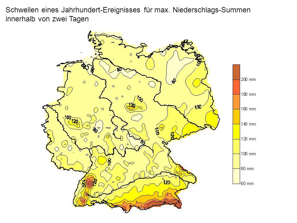 Schwellen eines Jahrhundert-Ereignisses für max. Niederschlags-Summen innerhalb von zwei Tagen