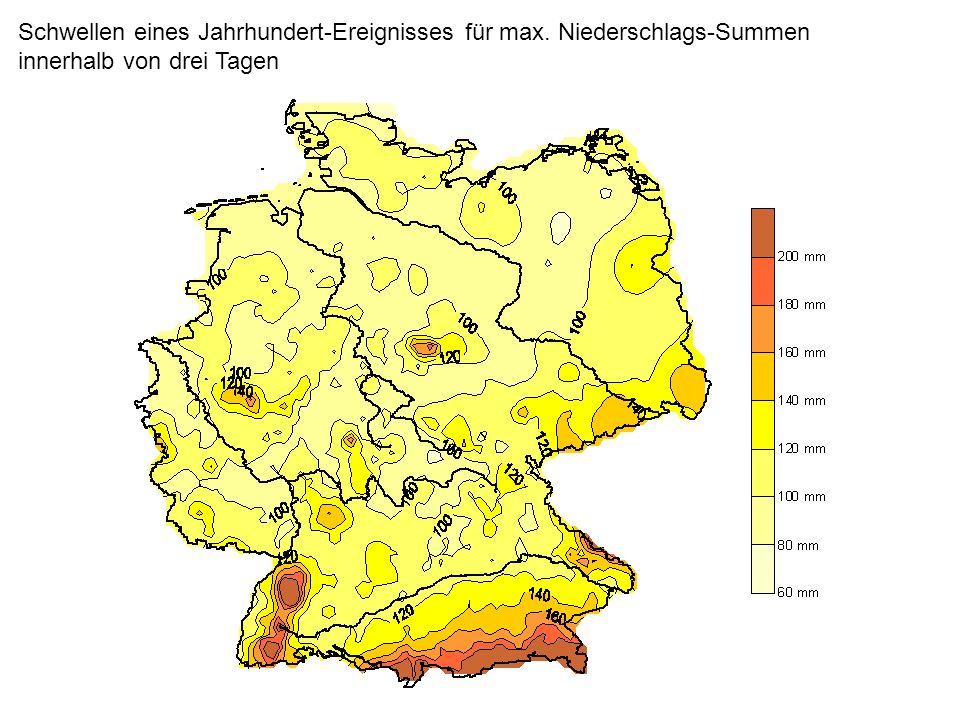 Schwellen eines Jahrhundert-Ereignisses für max. Niederschlags-Summen innerhalb von drei Tagen