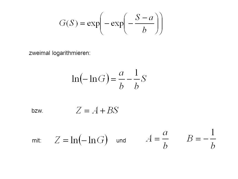 zweimal logarithmieren: bzw. mit:und
