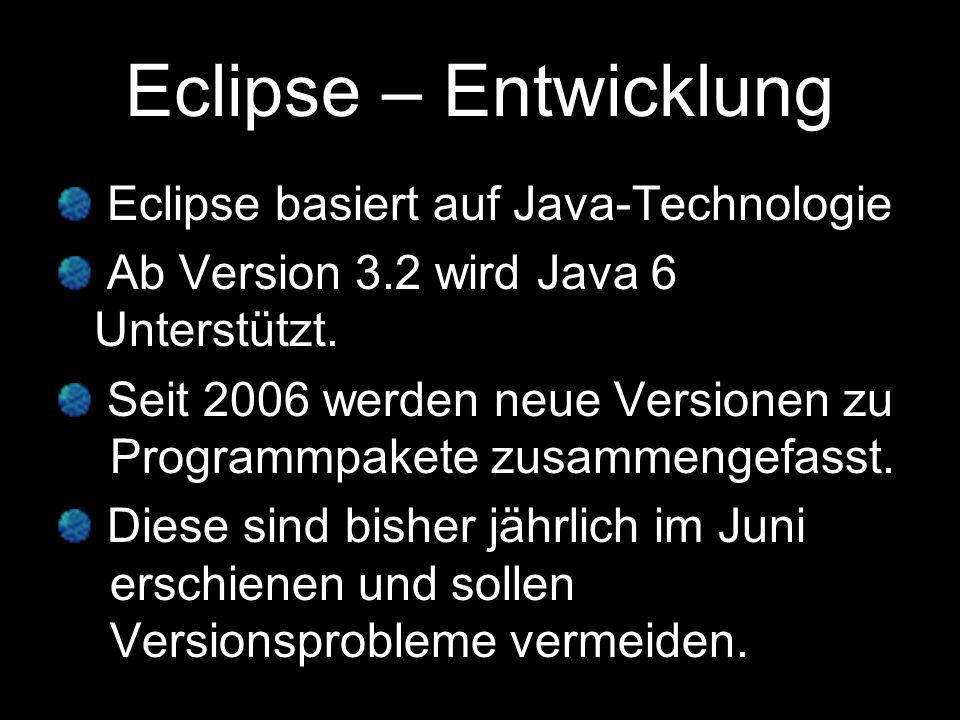 Beispiele: 2006 Eclipse Callisto (Version 3.2) 2007 Eclipse Europa (Version 3.3) 2008 Eclipse Ganymede (Version -3.4).
