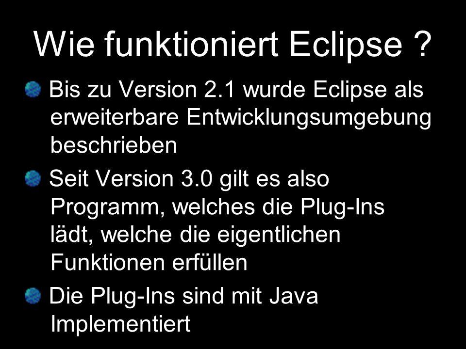 Plug-Ins für Eclipse Wie schon Erwähnt ist Eclipse eine -durch Plug-Ins erweiterbare -Entwicklungsumgebung.