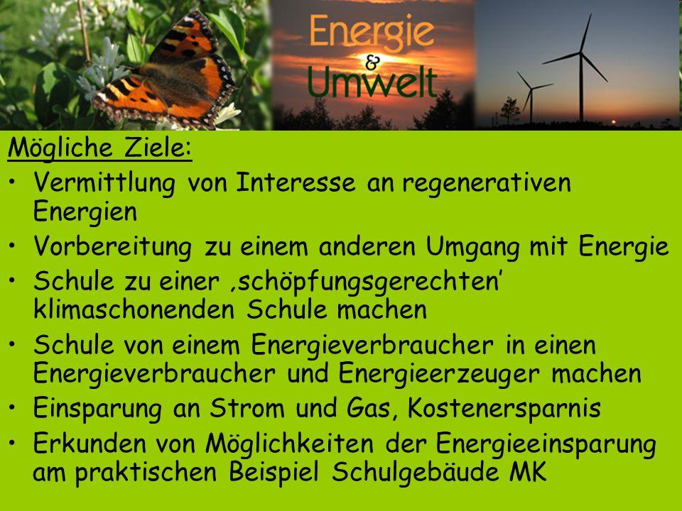 Mögliche Ziele: Vermittlung von Interesse an regenerativen Energien Vorbereitung zu einem anderen Umgang mit Energie Schule zu einer schöpfungsgerecht