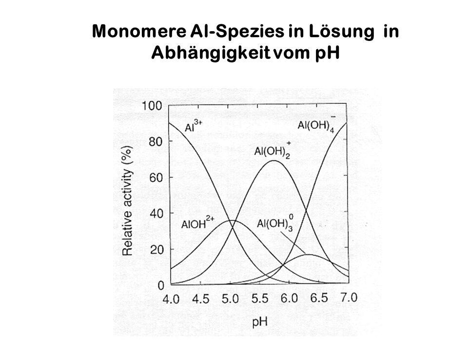 Atmosphäre Vegetation Output mit Sickerwasser Adsorption Desorption Verwitterung BODENBODEN Festphase Austausch- bares Al Silikate+ Tonminerale Hydroxide Org.