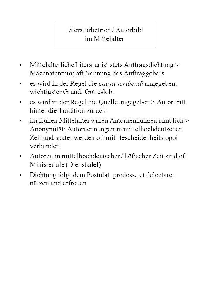 Literaturbetrieb / Autorbild im Mittelalter Mittelalterliche Literatur ist stets Auftragsdichtung > Mäzenatentum; oft Nennung des Auftraggebers es wir