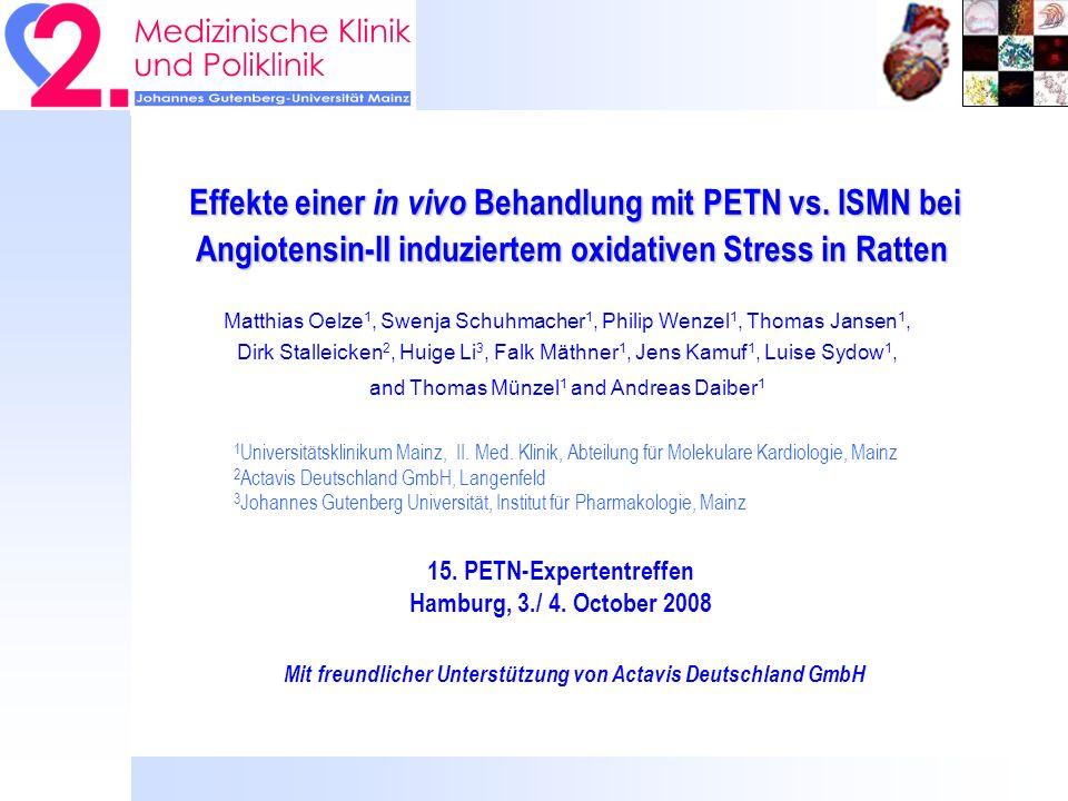 Hintergrund II: chronische Angiotensin-II Behandlung führt zu… Starkem Gewichtsverlust Anstieg der NADPH-Oxidase Aktivität Oxidativem Stress NOS-Entkopplung Endothelialer Dysfunktion Stark erhöhtem Blutdruck