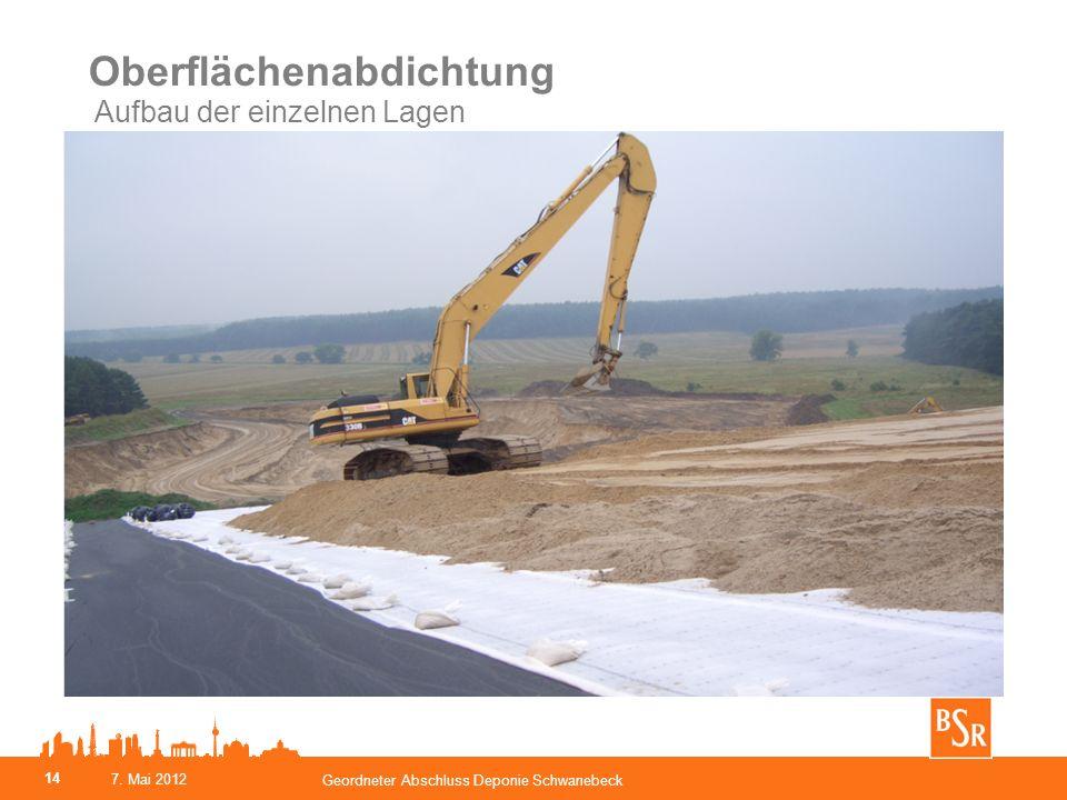 Oberflächenabdichtung Aufbau der einzelnen Lagen Geordneter Abschluss Deponie Schwanebeck 14 7. Mai 2012