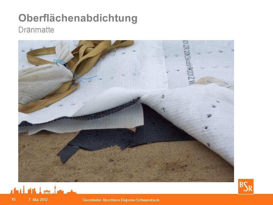 Oberflächenabdichtung Dränmatte 15 7. Mai 2012 Geordneter Abschluss Deponie Schwanebeck