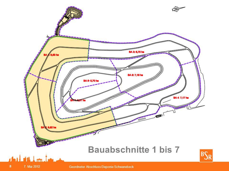 BSR Eigenleistungen Südböschungen - Bauabschnitte 1 und 2 - Profilierung der OK Abfall mit GPS gesteuerter Raupe - Verwertung von MHKW- Schlacke für die Gasdrän-/ Tragschicht, d > 20cm, als Teil der Oberflächenabdichtung Geordneter Abschluss Deponie Schwanebeck 9 7.
