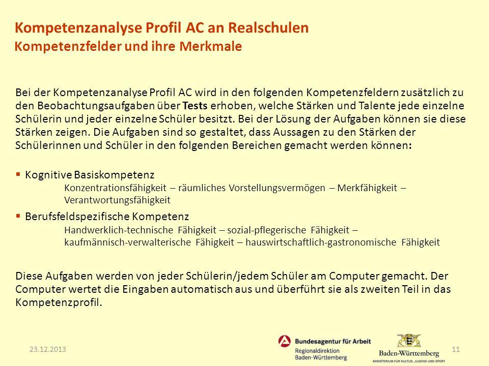 23.12.201311 Bei der Kompetenzanalyse Profil AC wird in den folgenden Kompetenzfeldern zusätzlich zu den Beobachtungsaufgaben über Tests erhoben, welc