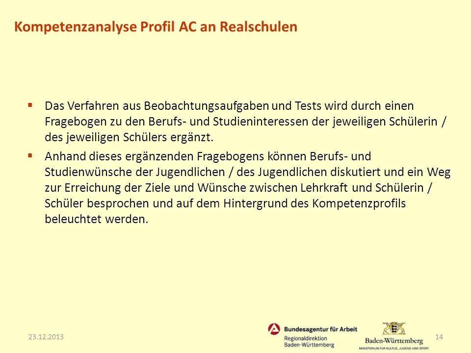 23.12.201314 Das Verfahren aus Beobachtungsaufgaben und Tests wird durch einen Fragebogen zu den Berufs- und Studieninteressen der jeweiligen Schüleri