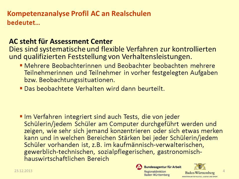 23.12.20134 AC steht für Assessment Center Dies sind systematische und flexible Verfahren zur kontrollierten und qualifizierten Feststellung von Verha