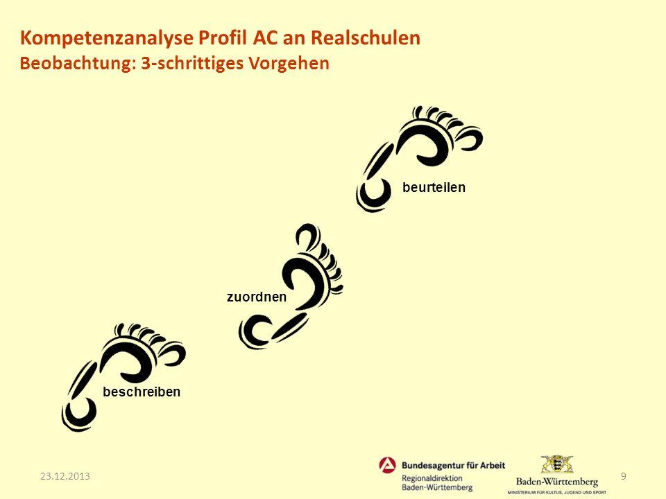23.12.20139 zuordnen beschreiben beurteilen Kompetenzanalyse Profil AC an Realschulen Beobachtung: 3-schrittiges Vorgehen