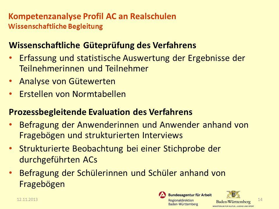 12.11.201314 Wissenschaftliche Güteprüfung des Verfahrens Erfassung und statistische Auswertung der Ergebnisse der Teilnehmerinnen und Teilnehmer Anal