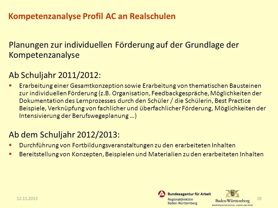 12.11.201319 Kompetenzanalyse Profil AC an Realschulen Planungen zur individuellen Förderung auf der Grundlage der Kompetenzanalyse Ab Schuljahr 2011/
