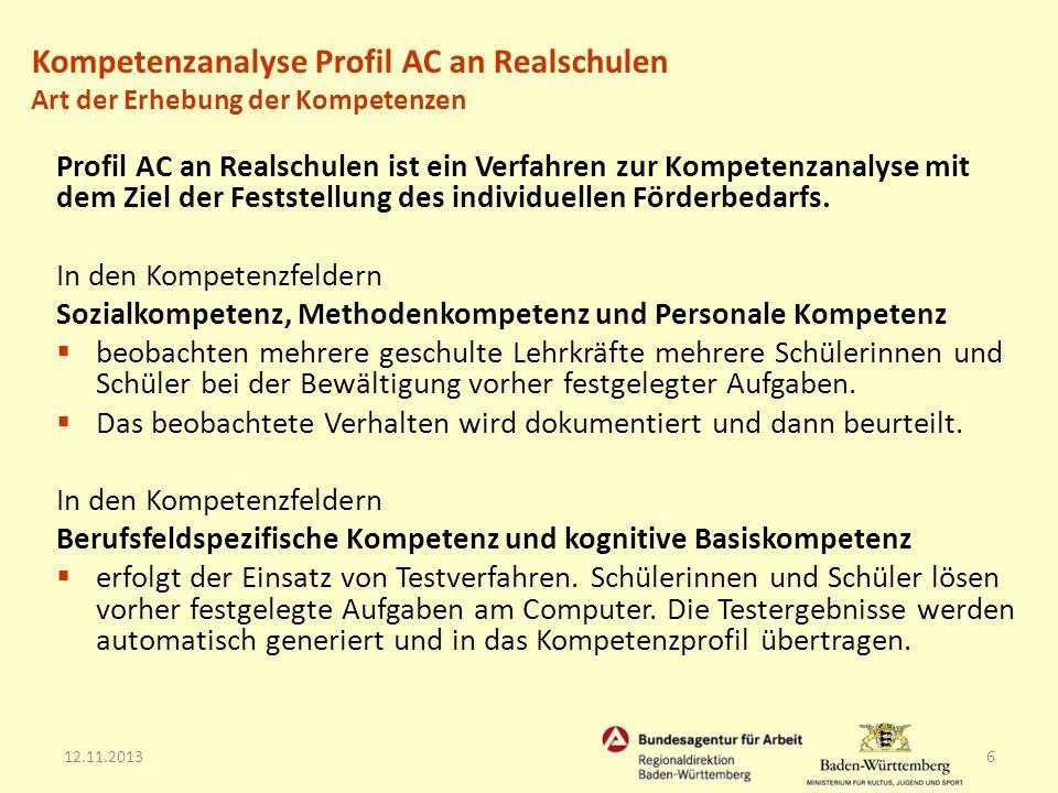 12.11.20136 Profil AC an Realschulen ist ein Verfahren zur Kompetenzanalyse mit dem Ziel der Feststellung des individuellen Förderbedarfs. In den Komp