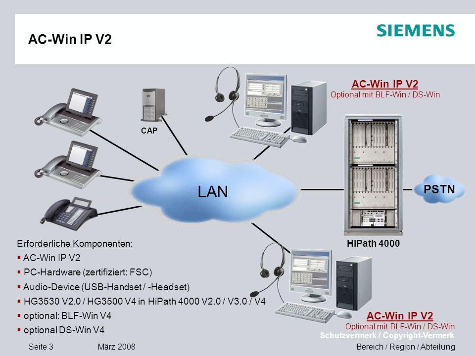 Seite 3 März 2008 Bereich / Region / Abteilung Schutzvermerk / Copyright-Vermerk AC-Win IP V2 Optional mit BLF-Win / DS-Win HiPath 4000 CAP Erforderli