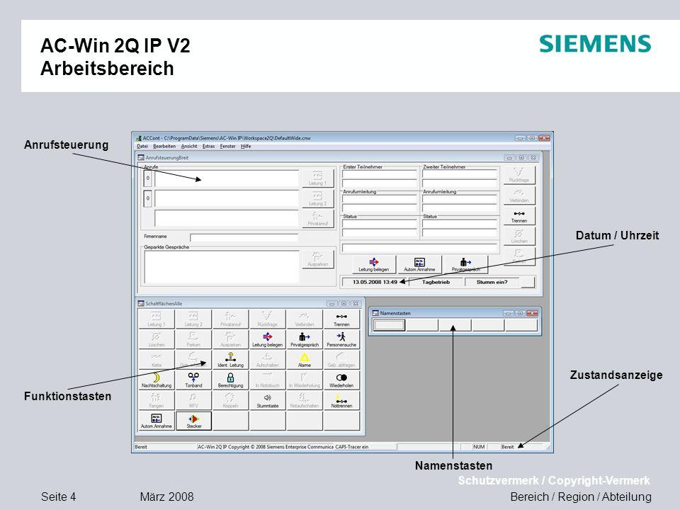 Seite 4 März 2008 Bereich / Region / Abteilung Schutzvermerk / Copyright-Vermerk AC-Win 2Q IP V2 Arbeitsbereich Anrufsteuerung Funktionstasten Namenst
