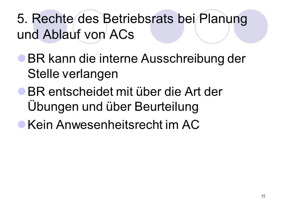 15 5. Rechte des Betriebsrats bei Planung und Ablauf von ACs BR kann die interne Ausschreibung der Stelle verlangen BR entscheidet mit über die Art de