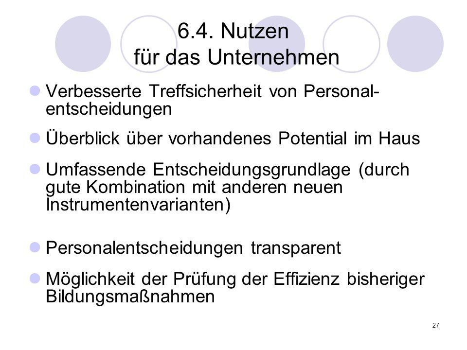 27 6.4. Nutzen für das Unternehmen Verbesserte Treffsicherheit von Personal- entscheidungen Überblick über vorhandenes Potential im Haus Umfassende En