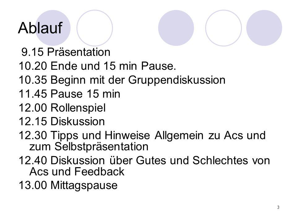 3 Ablauf 9.15 Präsentation 10.20 Ende und 15 min Pause. 10.35 Beginn mit der Gruppendiskussion 11.45 Pause 15 min 12.00 Rollenspiel 12.15 Diskussion 1