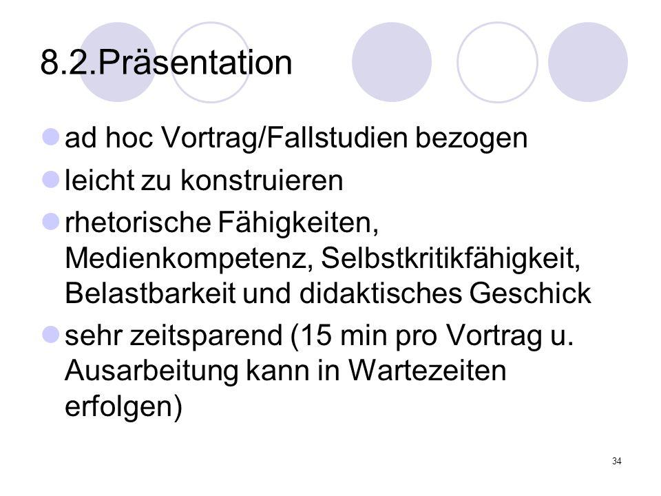 34 8.2.Präsentation ad hoc Vortrag/Fallstudien bezogen leicht zu konstruieren rhetorische Fähigkeiten, Medienkompetenz, Selbstkritikfähigkeit, Belastb