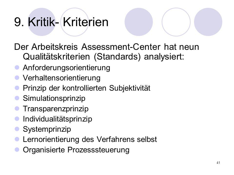41 9. Kritik- Kriterien Der Arbeitskreis Assessment-Center hat neun Qualitätskriterien (Standards) analysiert: Anforderungsorientierung Verhaltensorie