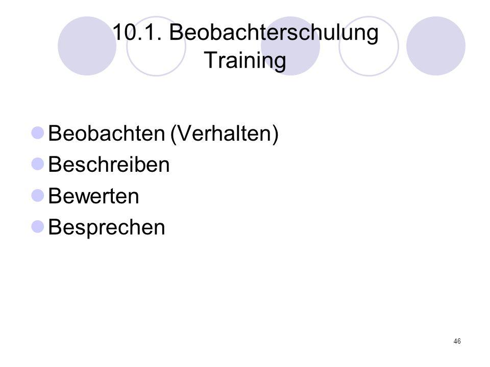 46 10.1. Beobachterschulung Training Beobachten (Verhalten) Beschreiben Bewerten Besprechen