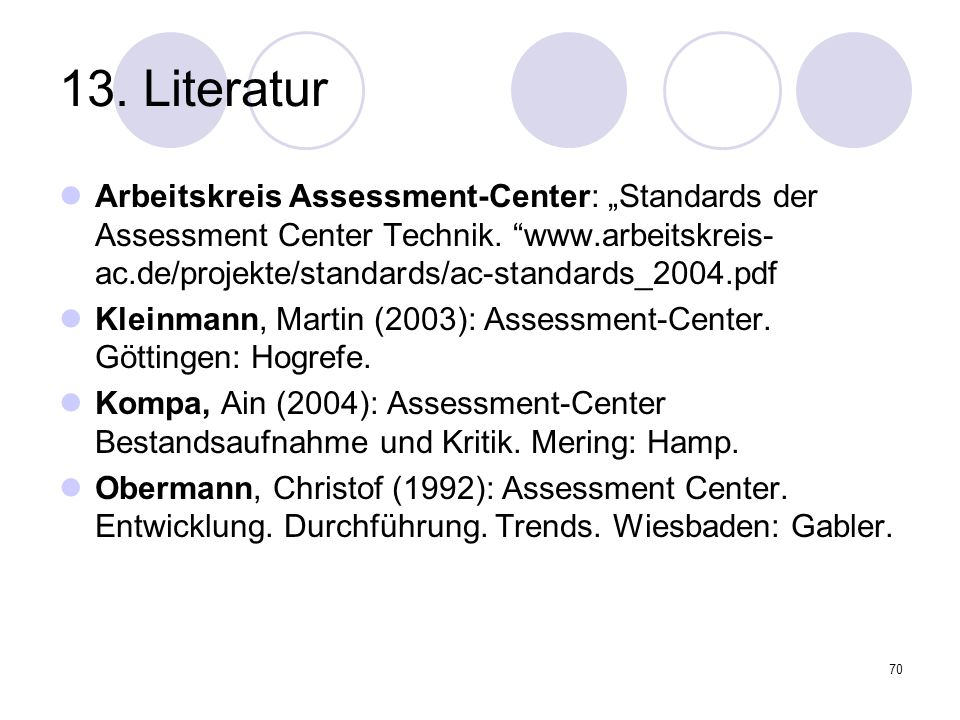 70 13. Literatur Arbeitskreis Assessment-Center: Standards der Assessment Center Technik. www.arbeitskreis- ac.de/projekte/standards/ac-standards_2004