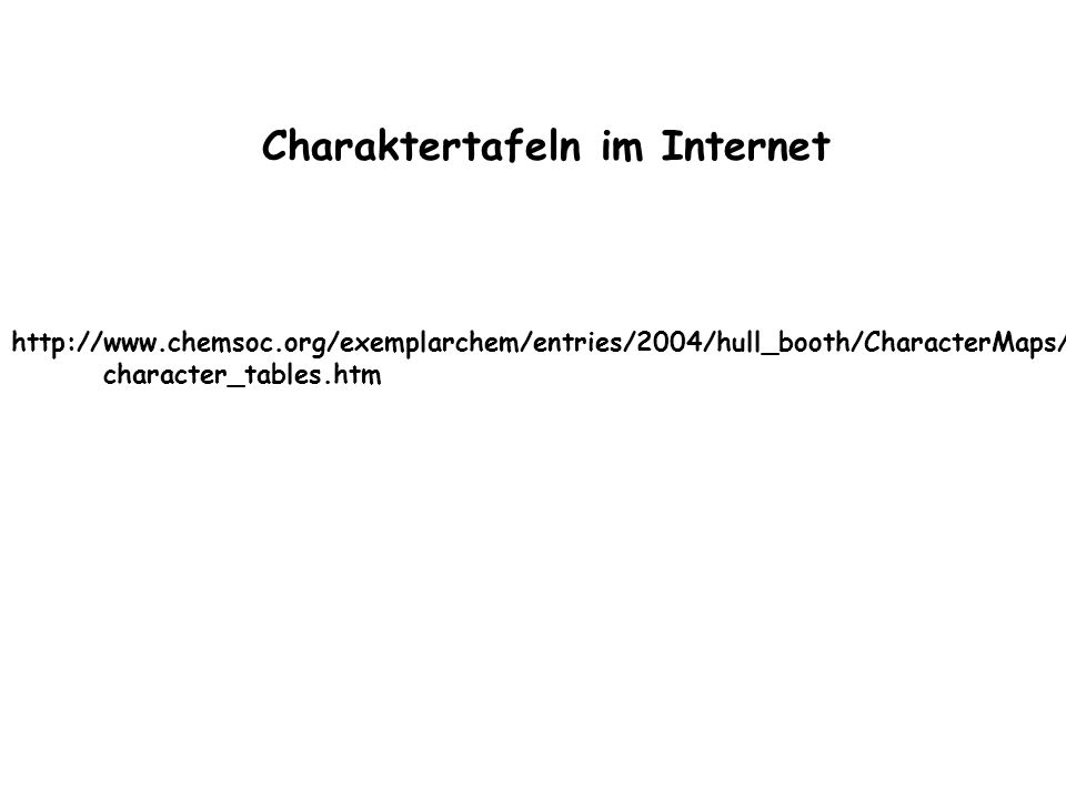 http://www.chemsoc.org/exemplarchem/entries/2004/hull_booth/CharacterMaps/ character_tables.htm Charaktertafeln im Internet
