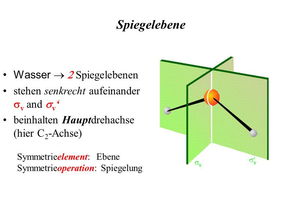 Wasser Spiegelebenen stehen senkrecht aufeinander v and v beinhalten Hauptdrehachse (hier C 2 -Achse) Spiegelebene Symmetrieelement: Ebene Symmetrieop