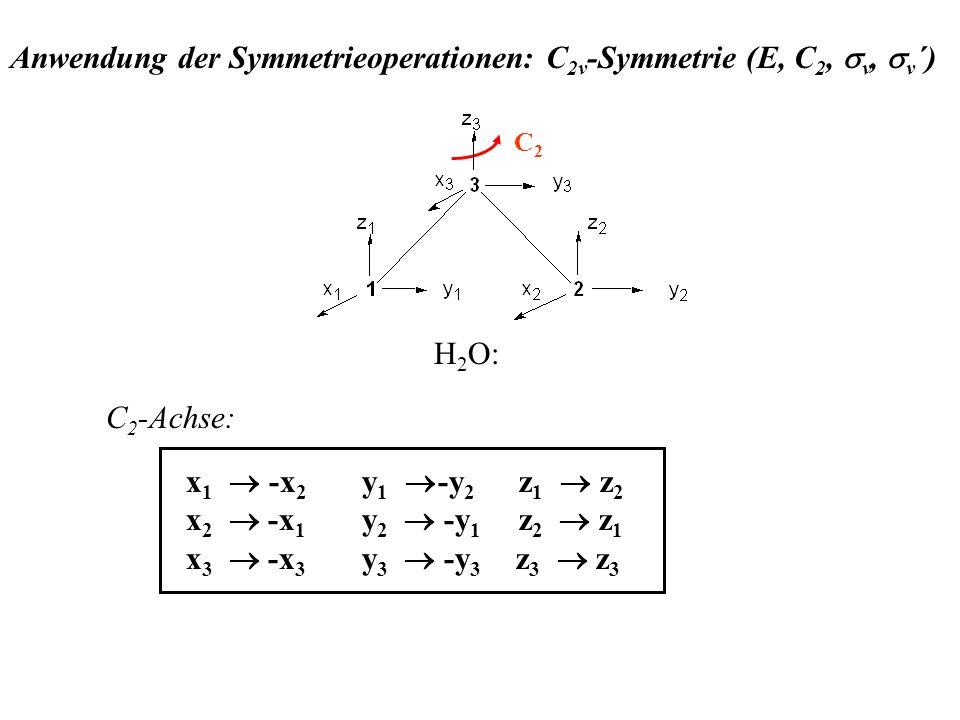 Anwendung der Symmetrieoperationen: C 2v -Symmetrie (E, C 2, v, v ´) C 2 -Achse: C2C2 x 1 -x 2 y 1 -y 2 z 1 z 2 x 2 -x 1 y 2 -y 1 z 2 z 1 x 3 -x 3 y 3