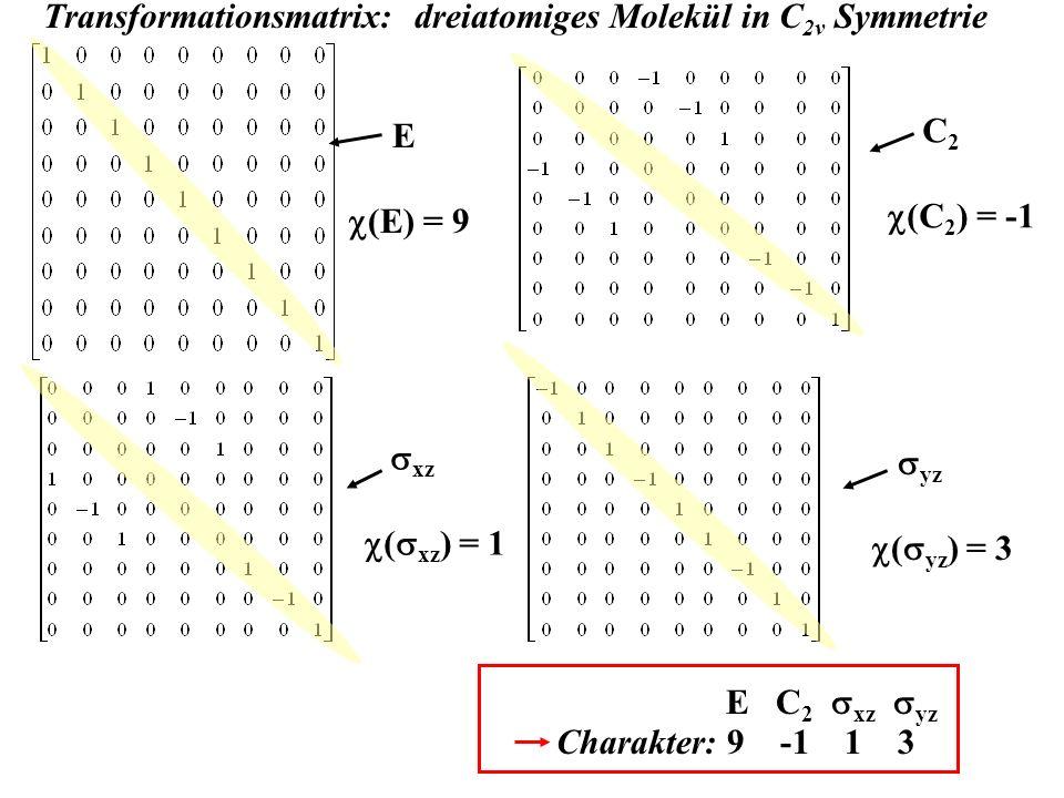 Transformationsmatrix: dreiatomiges Molekül in C 2v Symmetrie E (E) = 9 C 2 (C 2 ) = -1 xz ( xz ) = 1 yz ( yz ) = 3 Charakter: 9 -1 1 3 E C 2 xz yz