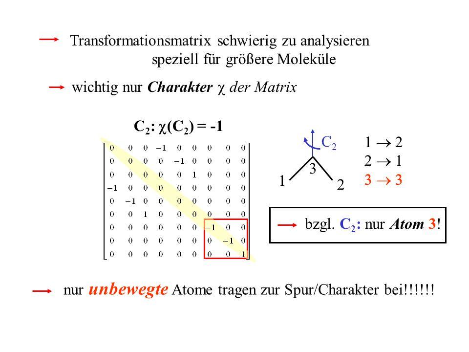 Transformationsmatrix schwierig zu analysieren speziell für größere Moleküle wichtig nur Charakter der Matrix nur unbewegte Atome tragen zur Spur/Char