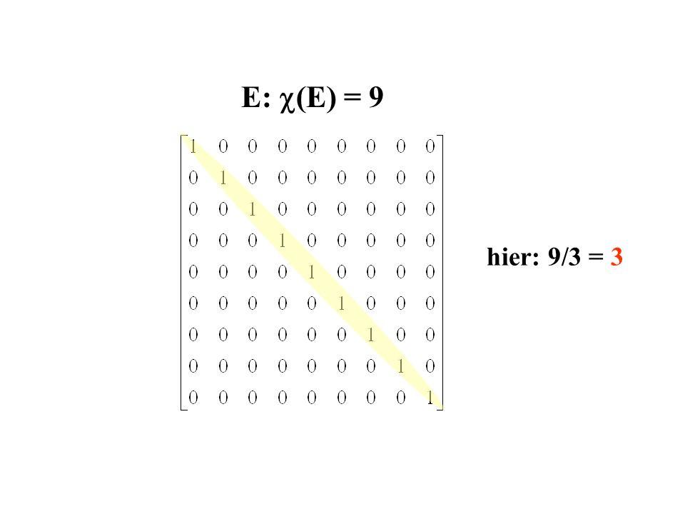 E: (E) = 9 hier: 9/3 = 3