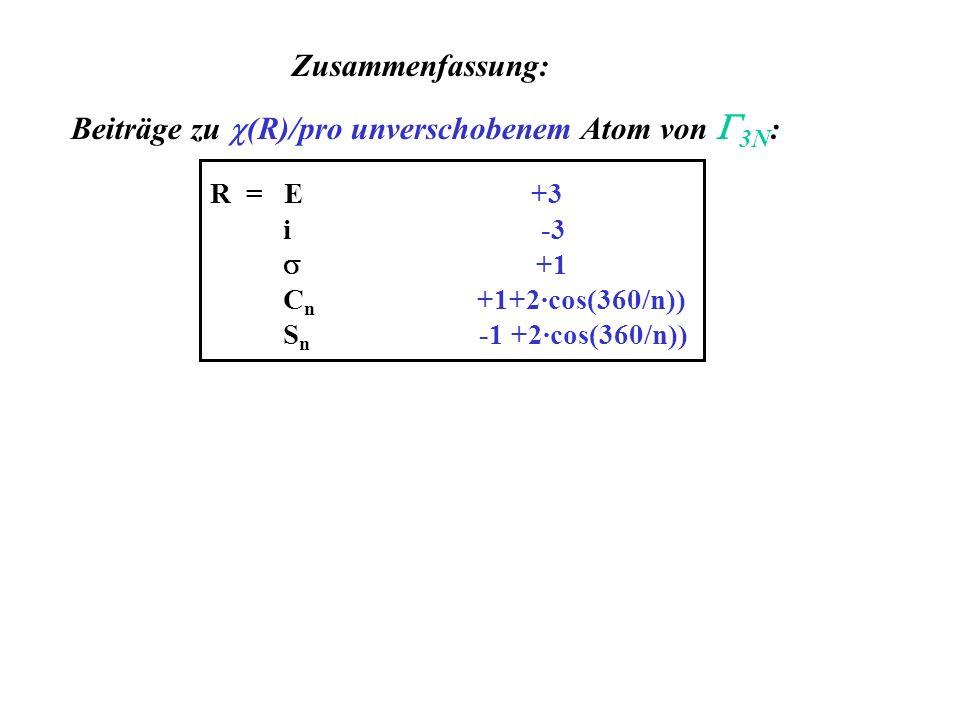 Zusammenfassung: Beiträge zu (R)/pro unverschobenem Atom von 3N : R = E +3 i -3 +1 C n +1+2·cos(360/n)) S n -1 +2·cos(360/n))