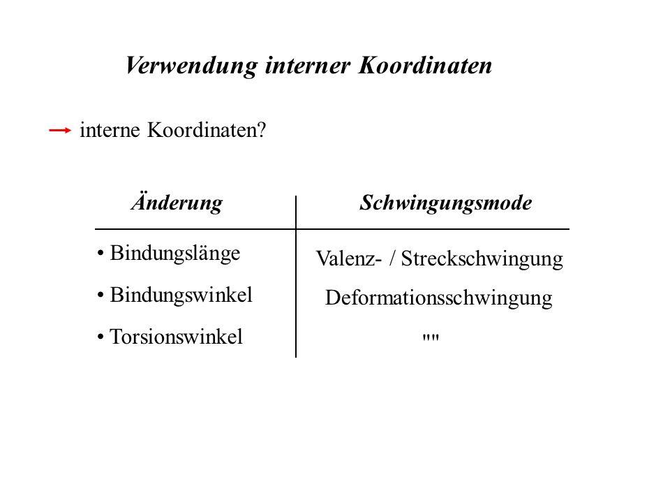 Verwendung interner Koordinaten interne Koordinaten? Bindungswinkel Bindungslänge Torsionswinkel Deformationsschwingung Valenz- / Streckschwingung